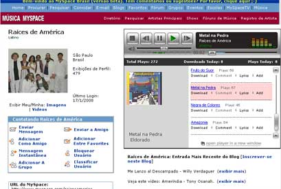 Página do Raíces no Myspace