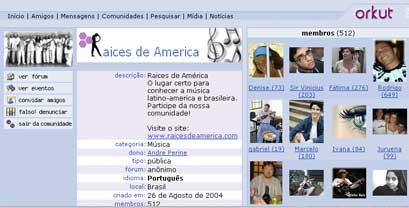 Comunidade do Ra�ces no Orkut